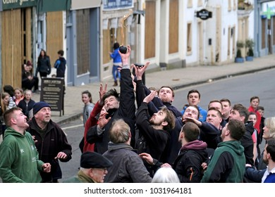 Jedburgh, Mercat Cross, UK. 22.Feb.2018.   Jed Hand Ba' The annual game of hand ball takes place every year the Thursday after Fastern Eve. The tradition derives from 1548