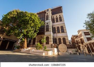 Jeddah, KSA - December 7th 2019: View of the ornate facade of the Nasseef coral town house, Souk al Alawi Street in the historic district of Al Balad, Jeddah, Saudi Arabia, KSA