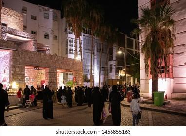 Jeddah market decorated streets of Al Balad at Jeddah Festival ,Jeddah, Saudi Arabia,