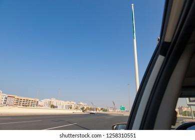 Jeddah, Saudi Arabia -12 December 2018 Saudi Arabia big national flag waving in the Jeddah Flagpole is a flagpole in King Abdullah Square in Jeddah, Saudi Arabia