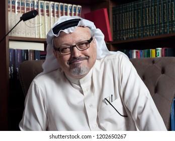 JEDDAH, SAUDI ARABIA - JAN 13, 2016: Portrait of - Washington Post's - Saudi journalist Jamal Khashoggi at his home.