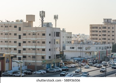 Jeddah, Saudi Arabia, January, 10th, 2017, Street view of the city of Jeddah, Kingdom of Saudi Arabia with background of crowded traffic jam