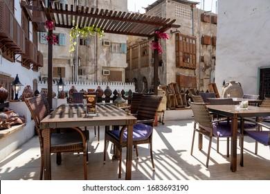 Jeddah Saudi Arabia - January 19, 2020: very nice caffe bar on street Al Kabli Ln in the old part of the city Jeddah, Al Balad