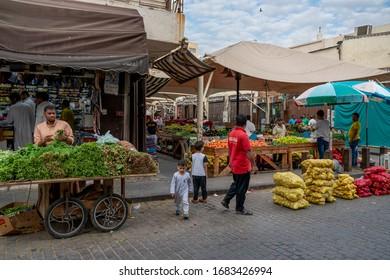 Jeddah, Saudi Arabia - January 3, 2020: market in old part of city, Al Balad