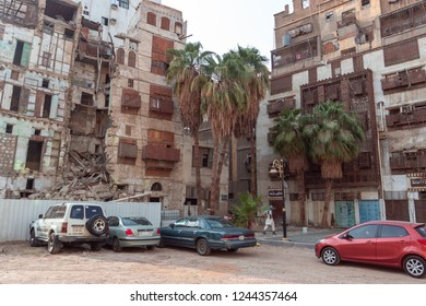 JEDDAH, SAUDI ARABIA - OCT 12 2016: Authentic arabic architecture in City of Jedda. Old district Al Balad of carved wooden windows is UNESCO World Heritage Place