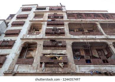 JEDDAH, SAUDI ARABIA - OCT 12 2016: Poor living houses of Jeddah al Balad old historical district