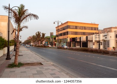 JEDDAH, SAUDI ARABIA - OCT 20 2018:  Falasteen street walk in Jeddah near King Fahd's fountain Corniche