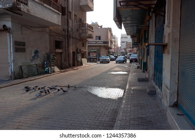 JEDDAH, SAUDI ARABIA - OCT 20 2018: Suburban districts of Jeddah, social living houses and poor roads condition is typical for Saudi Arabia outside city center