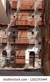 JEDDAH, SAUDI ARABIA - OCT 20 2018: Authentic arabic architecture in City of Jedda. Old district Al Balad of carved wooden windows is UNESCO World Heritage Place