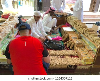 Jeddah,Saudi Arabia - November 17,2017: Closeup of Miswak sticks at market with selective focus and crop fragment.