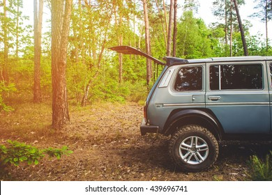Jeep open Back door. on vacation in forest . recreation