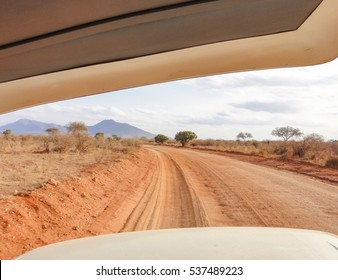 Jeep safari. African savannah in Kenya. Flora and Fauna of Africa