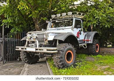 Jeep Wrangler in the open air. Off-road. Editorial photo. September 2017, Kiev - Ukraine