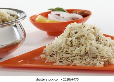 Jeera rice - long-grain basmati rice flavoured with fried cumin seeds