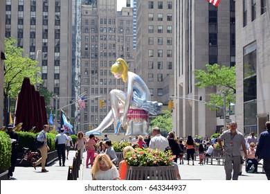 Jeff Koons's Seated Ballerina Sculpture Temporary Installation in Rockefeller Center New York City, May 19th 2017