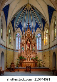 JEFFERSON CITY, MISSOURI - JULY 21: Sanctuary of the St. Peter Catholic Church on July 21, 2014 in Jefferson City, Missouri