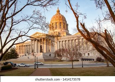 Jefferson City, MO - 1/7/2008:  Missouri state capitol building in Jefferson City with statue of Thomas Jefferson