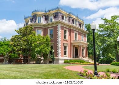 JEFFERSON CITY, MO - JUNE 20, 2018: Historic victorian Missouri Governor's Mansion in Jefferson City