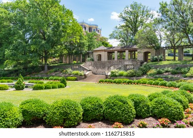 JEFFERSON CITY, MO - JUNE 20, 2018: Carnahan Memorial Garden on the grounds of the Missouri Governors Mansion in Jefferson City, Missouri