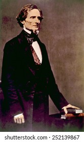 Jefferson Davis (1808-1889), president of the Confederate State of America, photograph by Mathew Brady that was subsequently hand-colored, ca. 1859