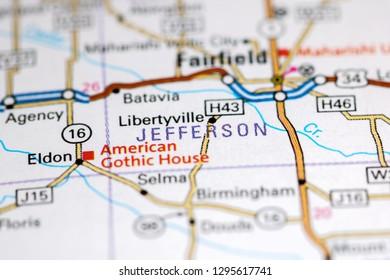 Jefferson. Iowa. USA on a map