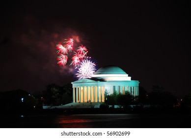 Jefferson memorial and fireworks in Washington DC