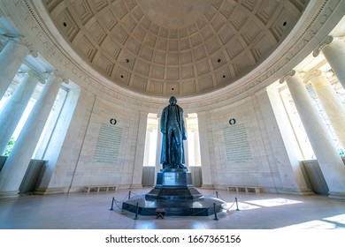 The Jefferson Memorial is a presidential memorial under the sponsorship of Franklin D. Roosevelt. Its a neoclassical Memorial building is situated in West Potomac Park, designed by John Russell Pope.