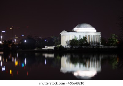 The Jefferson Memorial Reflection in the Tidal Basin at Night