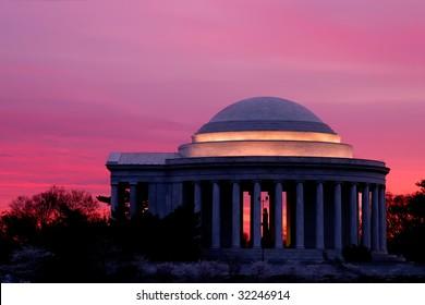 Jefferson Memorial Sunrise at Cherry Blossom Time