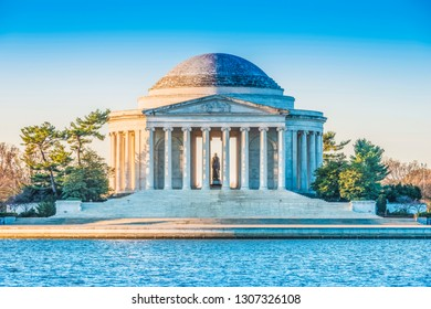 Jefferson Memorial at sunrise, located in Washington DC, USA.