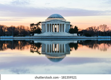 Jefferson Memorial at sunset  - Washington DC, United States