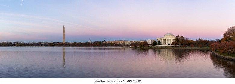 Jefferson Memorial and Washington Monument reflected on Tidal Basin in the evening, Washington DC, USA. Panoramic image