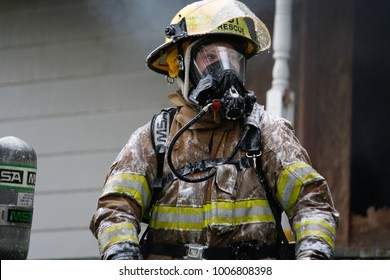 Jefferson, Oregon/USA - 05-05-2012  Close up for fire fighter in gear
