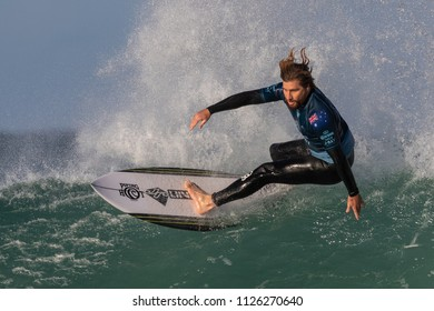 Jeffreys Bay, South Africa - July 2, 2018: Wade Charmichael surfing in round 1 of the Corona Open JBay