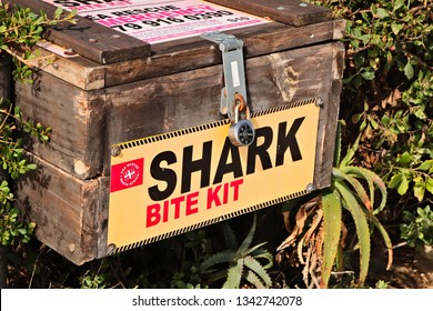 Jeffrey's Bay, South Africa - March 16, 2019: A shark bite kit which is used to treat surfers after a shark attack in the ocean.