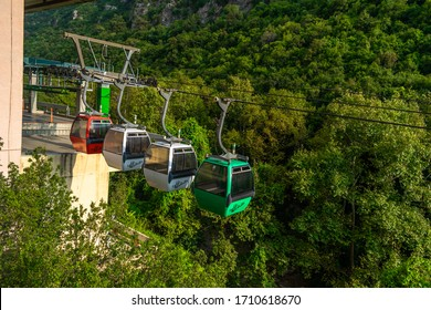 JEITA, LEBANON - August 17, 2019: Cable car at Jeita Grotto taking tourists between different cave levels, Lebanon