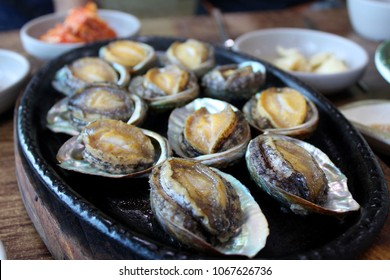 jeju Abalone food - Fresh seafood, abalones and seashells, on the white plate with soy sauce, myungjun