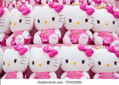 JEJU ISLAND - JANUARY 28: Hello Kitty plush soft in Hello Kitty Island Museum & Cafe In JeJu is one of the most popular tourist on January 28, 2016 at Jeju island, South Korea.