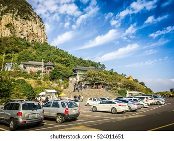 Jeju Island, KOREA - NOVEMBER 12, 2016: The tourist visited Sanbanggulsa temple that located on Sanbangsan Mountain. On the way to the cave, with the temple in it you have multiple buildings.