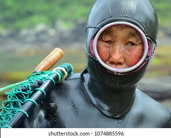 JEJU ISLAND, SOUTH KOREA - JUNE 5, 2013: Free-diving South Korean grandmother (haenyeo) wears a wet diving suit and poses for the camera after a successful dive off Sinyang, on June 5, 2013.