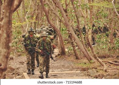 JEJU ISLAND, SOUTH KOREA - MAY 5, 2011: ROK Soldiers during training on Jeju Island in South Korea