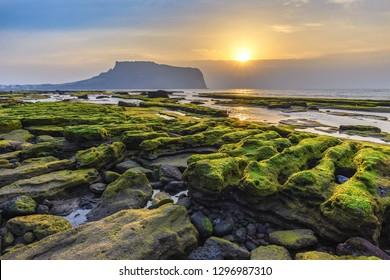 Jeju Island South Korea, Sunrise landscape at Seongsan Ilchulbong