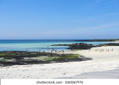 Jeju, Korea - May 22, 2017: Gimnyeong Seongsegi beach in Gujwa-eup. located in the northeast of Jeju Island. The beach is popular for its fine white sand and It is part of Olle trail No.20.