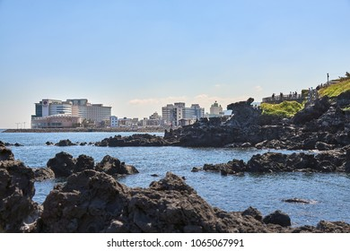 Jeju, Korea - May 22, 2017 : Yongduam Rock. Yongduam is a dragon head-like rock and a famous attraction in Jeju. It is situated to the north of Jeju and was created by strong winds and waves.