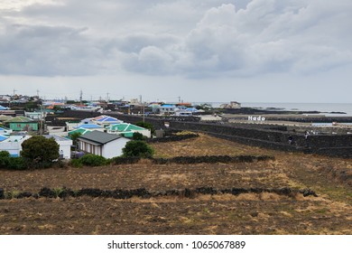 Jeju, Korea - May 23, 2017: Byeolbangjin is a oval fortress built in consideration of the location's topography in Hado-ri. It was designated as Jeju Monument No.24 on April 13, 1973.