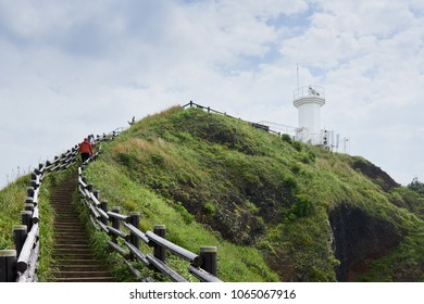 Jeju, Korea - May 23, 2017: Seopjikoji is a cape at the end of the eastern shore of Jeju Island. The place is famous for the filming site of cinemas and dramas, including 'All In' and 'Ginko bed'.