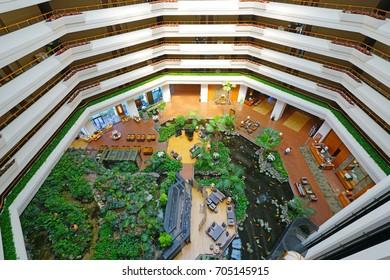 JEJU, SOUTH KOREA -20 JULY 2017- Interior view of the Hyatt Regency Jeju, a luxury seaside hotel located in Seogwipo near Jungmun Beach on Jeju Island in the Jeju Special Administrative Province.