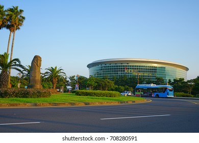 JEJU, SOUTH KOREA -20 JULY 2017- The International Convention Center (ICC) Jeju is located in the Jungmun Resort in Seogwipo on Jeju Island in the Jeju Special Administrative Province.