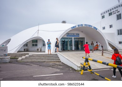 Jeju, South Korea - 27 September 2016: Seongsanhang Port Passenger Ferry Terminal. People took ferry to Udo Island. Udo is one of the most visited spots in Jeju-do