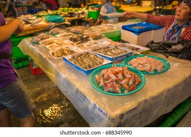 Jeju, South Korea - 29 September 2016: Jeju Dongmun Traditional Market. It has served countless customers in jeju with diverse items at inexpensive prices compared to regular marts or grocery stores.